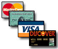 We accept MC, AMEX, Visa and Discover